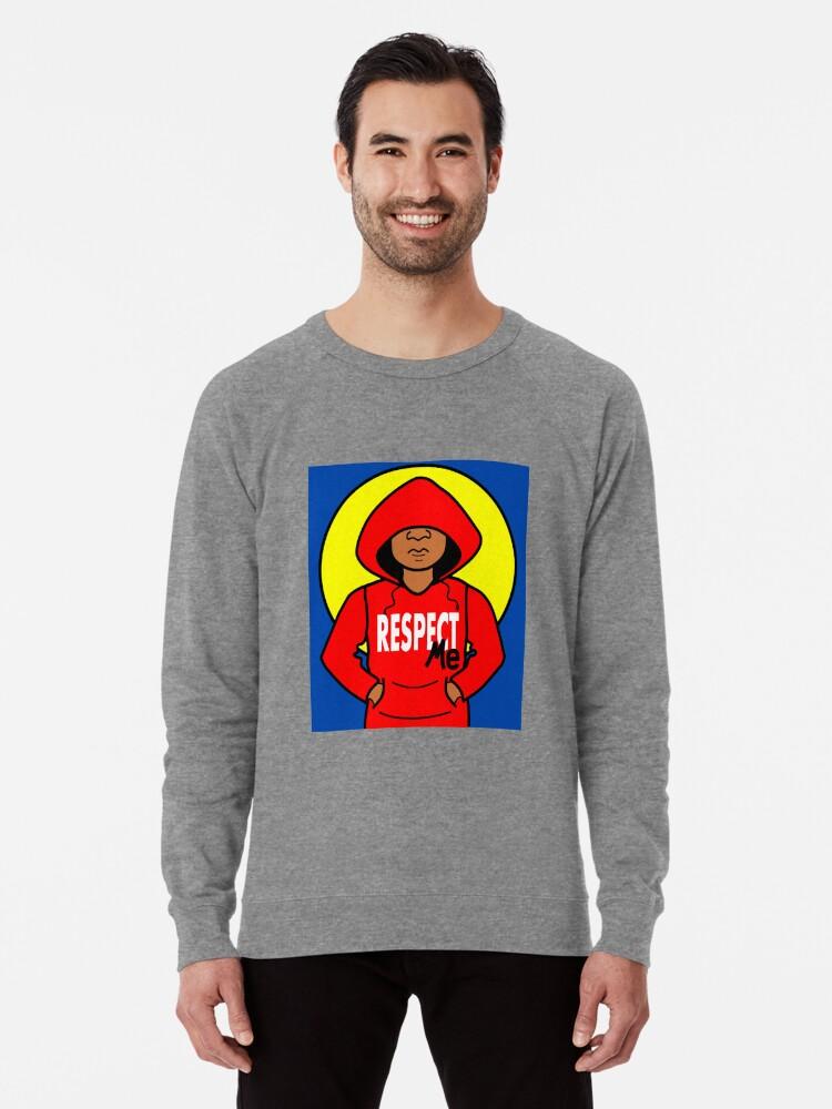d5408db44 Cartoon African American Boy Wearing Red Hoodie Lightweight Sweatshirt