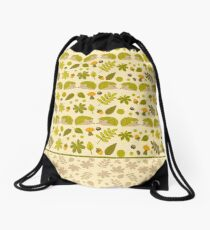 Hedgehogs in the Green Fall Drawstring Bag