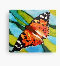 Painted lady butterfly on silk Metal Print