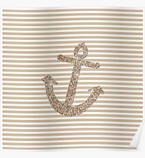 Gold Stripes Nautical Anchor Poster