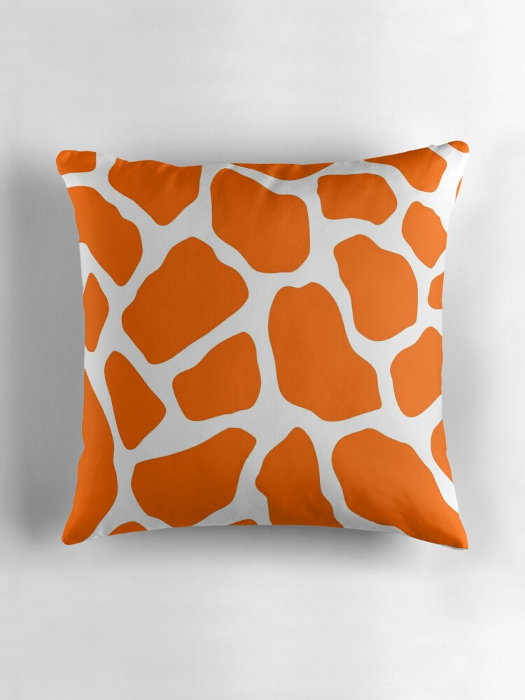 Orange and White Giraffe Print Throw Pillows by pencreations