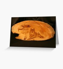 PYROGRAPHY: The Eagle & The Wolf Greeting Card