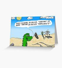 Earthlings or Marslings cartoon Greeting Card