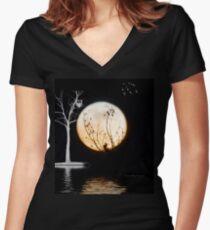 Super Moon Light (T-Shirt) Women's Fitted V-Neck T-Shirt