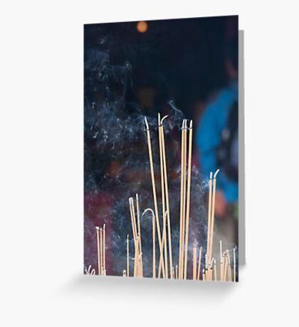 Tin Hau Temple, Shek O, Hong Kong - joss sticks Greeting Card