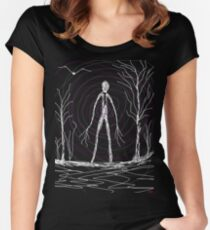 dark creepy slender man in forest on Halloween by Tia Knight Women's Fitted Scoop T-Shirt