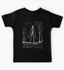 dark creepy slender man in forest on Halloween by Tia Knight Kids Clothes