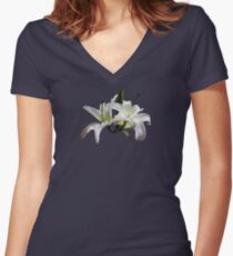 Two Delicate White Lilies Women's Fitted V-Neck T-Shirt