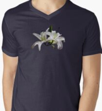 Two Delicate White Lilies Men's V-Neck T-Shirt