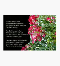 If Love is Red like Roses Photographic Print