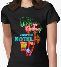 Palms Hotel Motel Neon Sign Retro Women's Fitted T-Shirt