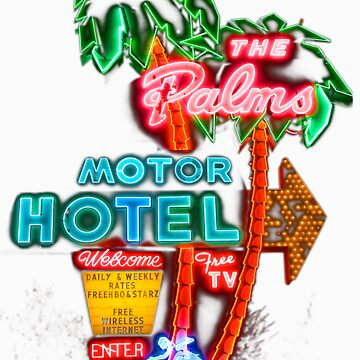 Palms Hotel Motel Neon Sign Retro by 24hrArtyPeople