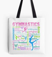 Gymnastics Typography in Pastels Tote Bag