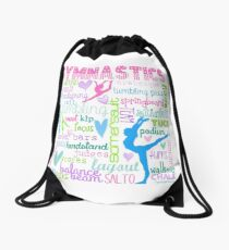Gymnastics Typography in Pastels Drawstring Bag