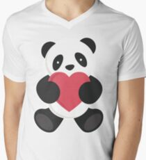 cute loving panda  Men's V-Neck T-Shirt