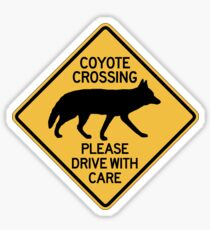 Coyote Crossing, Traffic Warning Sign, USA Sticker