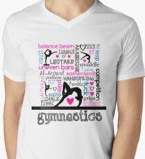 Gymnastics Tri-Color Typography Men's V-Neck T-Shirt