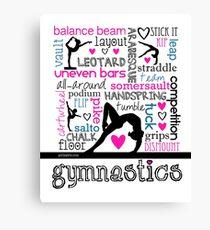 Gymnastics Tri-Color Typography Canvas Print