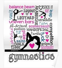 Gymnastics Tri-Color Typography Poster