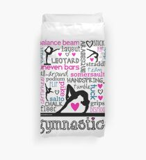 Gymnastics Tri-Color Typography Duvet Cover