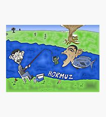 Binary Options Caricature - President Obama, President Ahmedinajad and the Strait of Hormuz Photographic Print