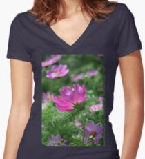 Cosmos Flower 7142 T shirt Women's Fitted V-Neck T-Shirt