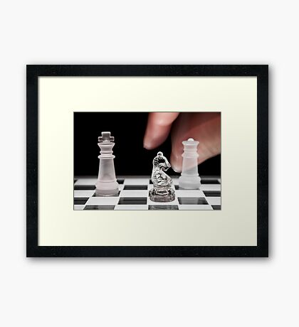 Chess 101: The knight moves to put the king in check Framed Print