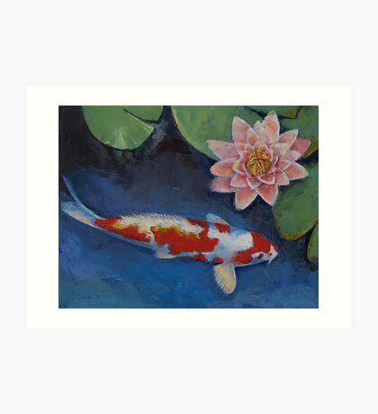 Koi and Water Lily Art Print