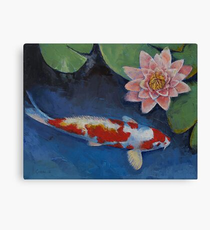 Koi and Water Lily Canvas Print