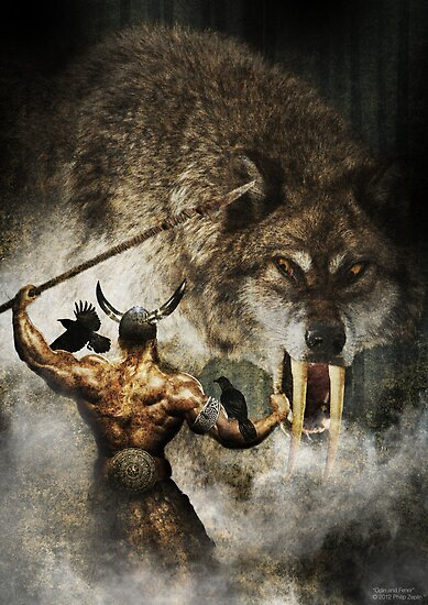 Quot Odin And Fenrir Quot Poster By Philipzeplin Redbubble