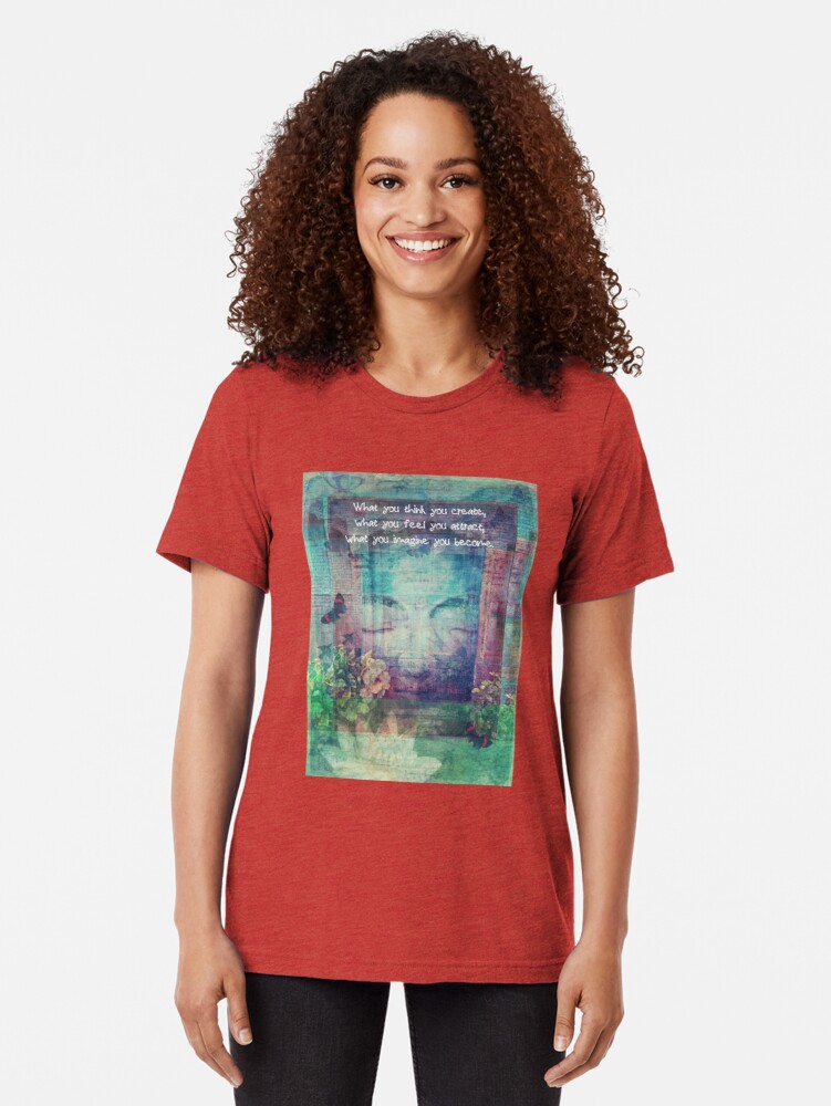 Alternate view of Inspiring Buddha quote about positive thinking Tri-blend T-Shirt