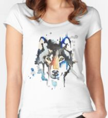 Watercolour Wolf Women's Fitted Scoop T-Shirt