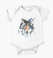 Watercolour Wolf Short Sleeve Baby One-Piece