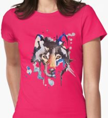 Watercolour Wolf Womens Fitted T-Shirt