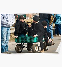 Amish Boys in a Wagon Poster