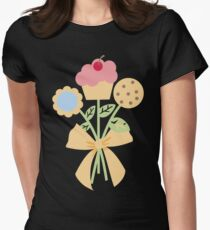 Cookies cupcake flower bouquet bow t-shirt Womens Fitted T-Shirt
