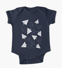 Paper Plane Pattern One Piece - Short Sleeve
