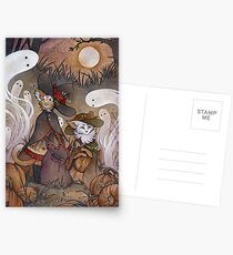 The Gathering - Kitten Witch Ghost Halloween Postcards