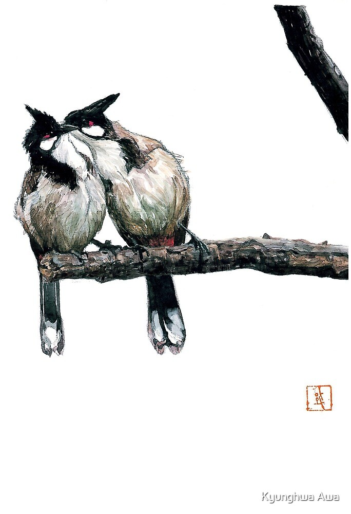 Two birds on a branch by Kyunghwa Awa