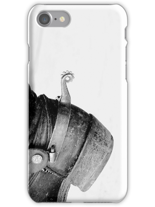 Black and White Boots 'n Spurs iPhone Case by Glennis  Siverson