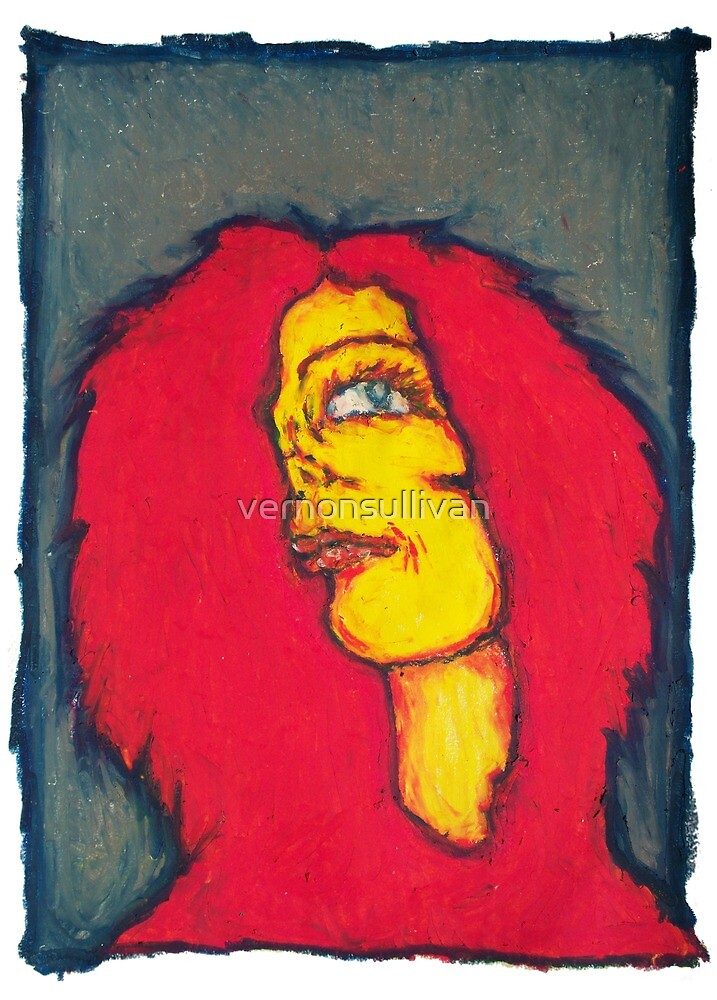 Faces-1 red yellow gray print -vernon sullivan by vernonsullivan