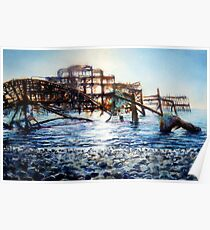 The West Pier , A derelict piece of victorian Architecture Poster