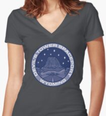 Devil's Tower Spaceport Women's Fitted V-Neck T-Shirt