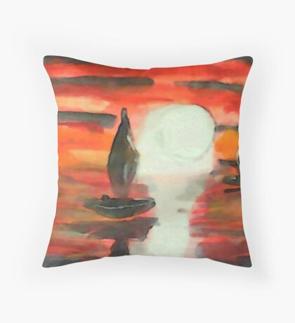 Red sunset, watercolor Throw Pillow