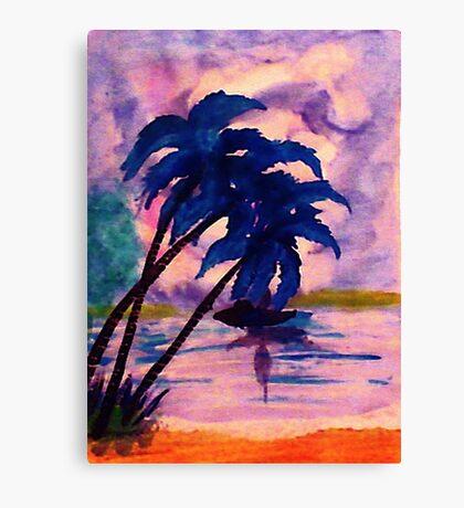 Watching storm thru palms, watercolor Canvas Print
