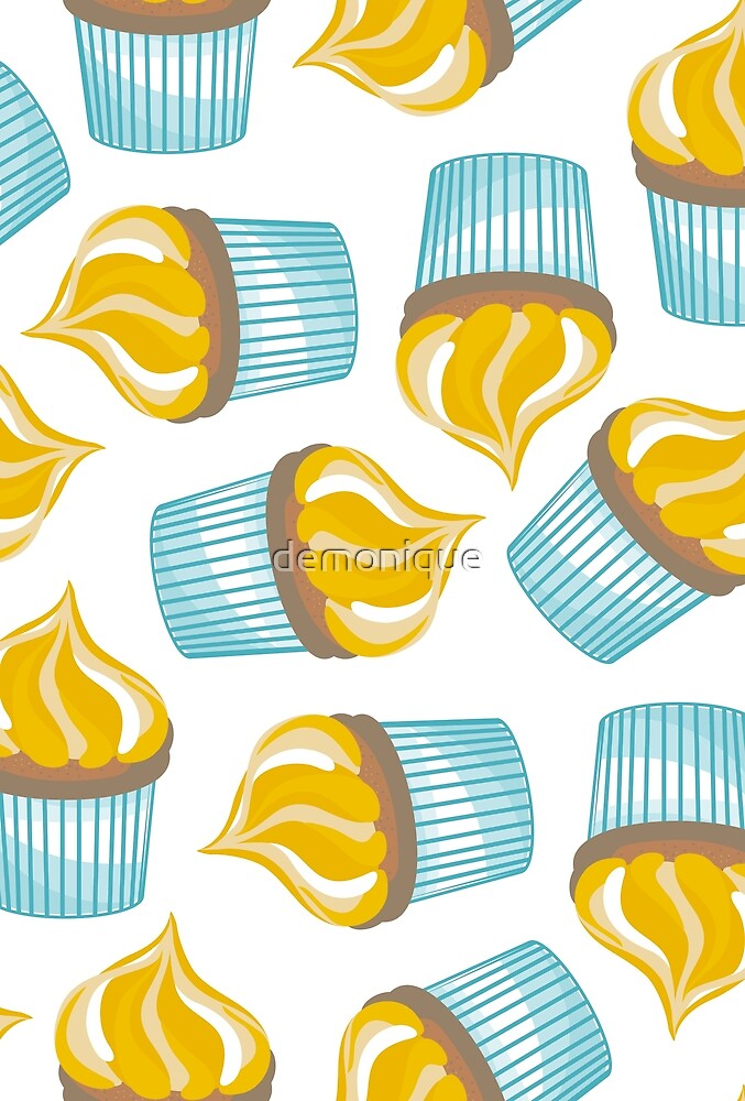 yellow cupcakes on white by demonique