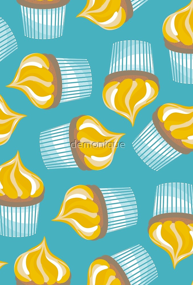 yellow cupcakes on turquoise by demonique