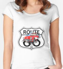 Vintage Route 66 US historic gifts red, white, black Women's Fitted Scoop T-Shirt