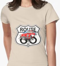Vintage Route 66 US historic gifts red, white, black Womens Fitted T-Shirt
