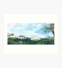 A walk in the park in wide open space. Art Print
